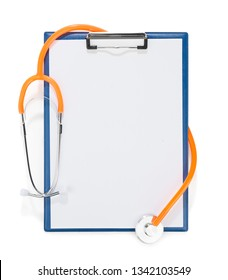 Blank clipboard with stethoscope for your text isolated on white background.