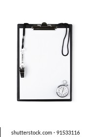 Blank clipboard with whistle and stopwatch