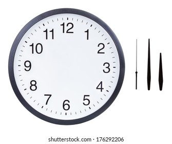 Blank clock face with hour, minute and second hands isolated on white background. Just set your own time