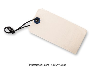 blank close-up tag on white isolated background