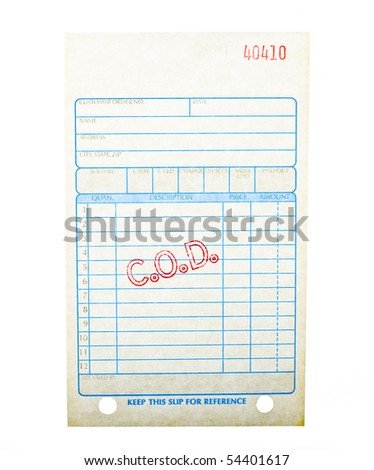 Blank Cod Invoice Stock Photo Edit Now 54401617 Shutterstock