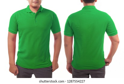 Blank collared shirt mock up template, front and back view, Asian male model wearing plain green t-shirt isolated on white. Polo tee design mockup presentation for print.