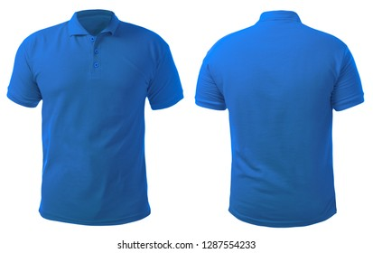 Blank gefärbtes Hemd, Mockup-Vorlage, Front- und Rückansicht einzeln auf weiß, einfarbiges blaues T-Shirt, Modell nach oben. Polo Tee Design Präsentation für den Druck.