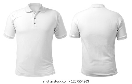 Blank gefärbtes Hemd, Mockup-Vorlage, Front- und Rückansicht einzeln auf Weiß, einfarbiges T-Shirt, Modell nach oben. Polo Tee Design Präsentation für den Druck.