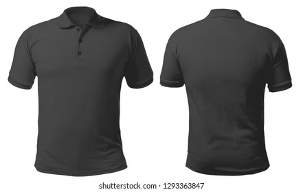Blank collared shirt mock up template, front and back view, isolated on white, plain black t-shirt mockup. Tee design mockup presentation for print.