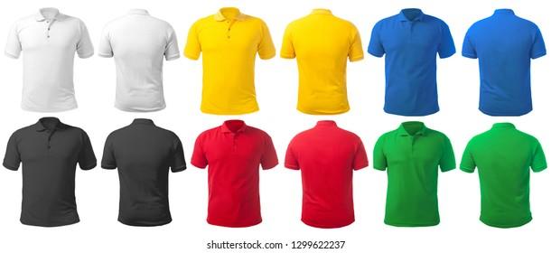 Blank gefärbtes Hemd, Mockup-Vorlage, Front- und Rückansicht einzeln auf Weiß, einfarbiges T-Shirt, in vielen Farben aufgetaucht. Tee-Design-Präsentation für den Druck.