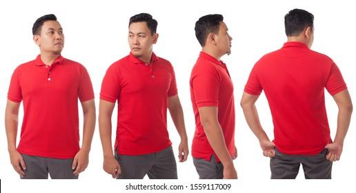 Blank gefärbtes Shirt, Mockup-Vorlage, Front-, Seite- und Rückansicht, asiatisches männliches Modell mit einfarbigem T-Shirt einzeln auf Weiß. Polo tee design mock up presentation for print.