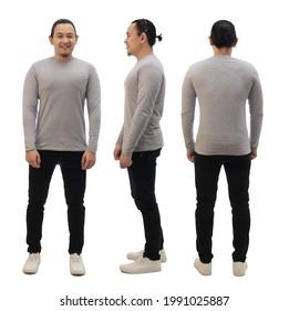 Leere farbige Shirt-Mockup-Vorlage, Vorderseite und Rückseite, asiatisches männliches Modell mit schlichtgrauem, langärmeligem T-Shirt einzeln auf Weiß. Polo tee design motoup presentation for print
