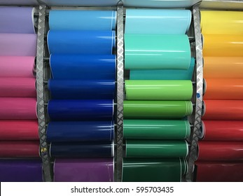 Blank Colorful of sticker background in roll. Lunched colorful sticker roll background. Sample color patter of sticker.
