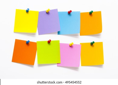 Blank Colorful Sticky Notes isolated on white background
