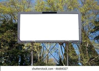 Blank commercial billboard garden spring on background