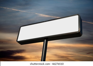 Blank commercial sign against cloudy sky