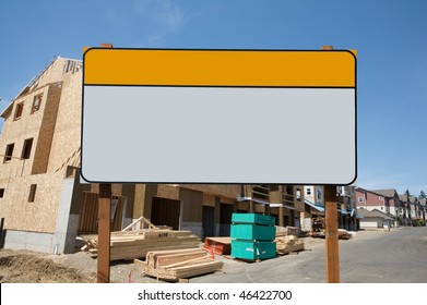 blank commercial sign against construction site