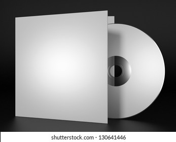 Blank compact disk with cover on black background