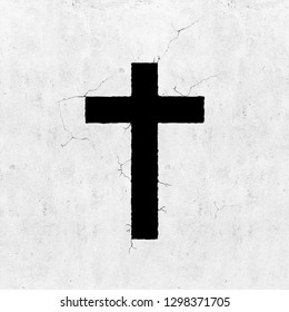 Blank concrete grey wall background with cross symbol