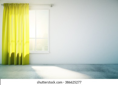 Blank concrete wall in white loft design room with yellow curtain, window and concrete floor. Mock up, 3D Render