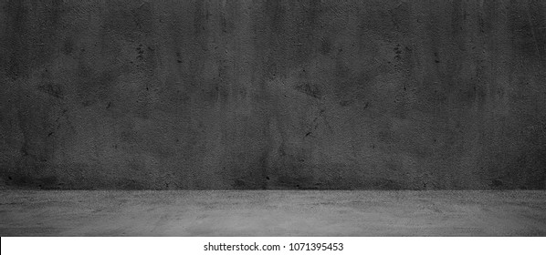 Blank concrete wide dark wall texture background - Shutterstock ID 1071395453