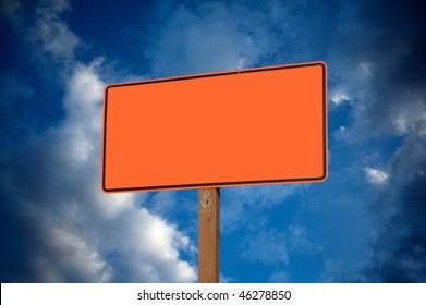 blank construction sign against cloudy sky ez canvas