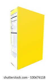 Blank copy space yellow cereal box at an angle. Vertical.