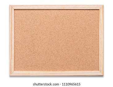 Blank cork board mock up with corkboard texture background with wooden frame hanging on white wood wall (isolated with clipping path) for bulletin pin-up mockup, memo or noticeboard announcement
