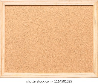 Blank cork board mock up with corkboard texture background with wooden frame hanging on white wood wall isolated for bulletin mockup, pin-up memo or noticeboard announcement