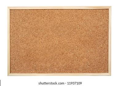 Blank corkboard  isolated on white background