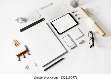 Blank corporate identity set on paper background. Branding stationery mock up.
