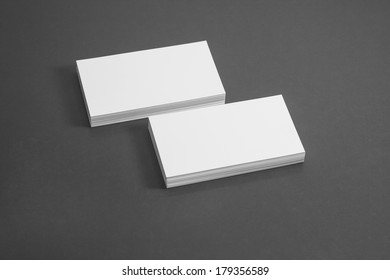 Blank corporate identity template package business card with clear gray background.