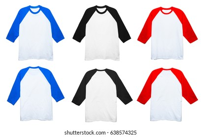 Blank Cotton 3/4 Sleeve Raglan t shirt front and back view set on white background