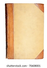blank cover of 19-th century book with leather elements