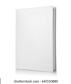 Blank cover of closed book on white background