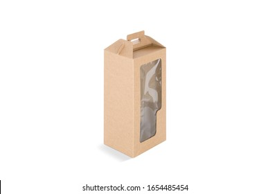 Blank craft rectangular wine box with plastic window mock up, side view. Empty kraft container for alchohol carry mockup, isolated. Clear handmade package for drink protect mokcup template.