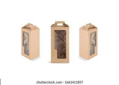 Blank craft wine box with plastic window mockup, different sides. Empty muscat beverage kraft packaging mock up, isolated. Clear carry paperboard cover with hadle mokcup template.