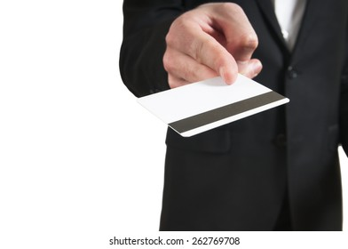 Blank credit card in a businessman's hand