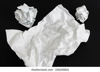 Blank crumpled paper sheet template isolated on black background