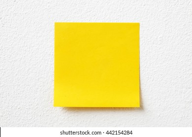 blank crumpled sticky note paper on texture wall as concept