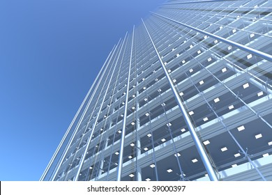 blank curved facade of glass office building with reflections,lights and blank interior