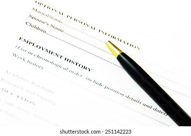 Blank CV document.