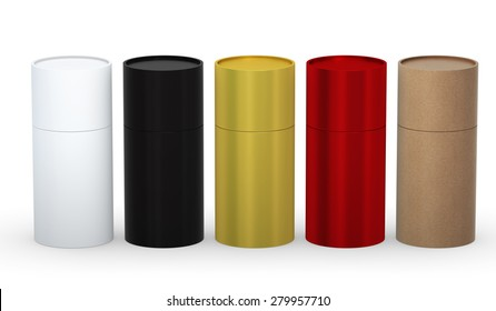 Blank cylindrical box packaging  with variety material set clipping path included.