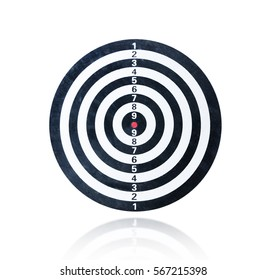 Blank dart board isolated on the white background, With clipping path