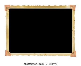 blank deckle edged picture frame with photo corners