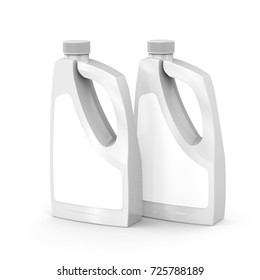 Blank detergent bottle, 3d rendering drain cleaner container mockup set with label for design uses