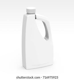 Blank detergent bottle mockup, drain cleaner plastic bottle isolated on white background in 3d rendering