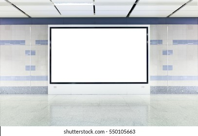 Blank digital advertisement board with white screen in modern subway