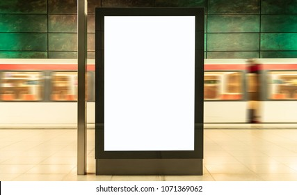 blank digital display advertisement billboard in train station