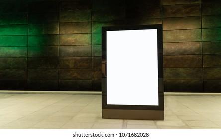blank digital display advertisement billboard in subway station
