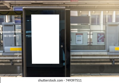 Blank digital poster on train platform