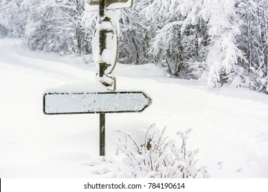 A blank direction sign covered in snow in a snowy environment while it's snowing