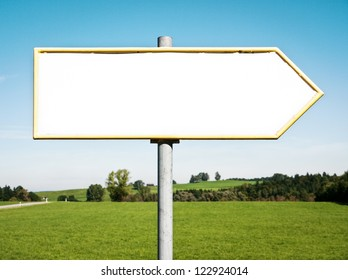 blank directional sign with space for text