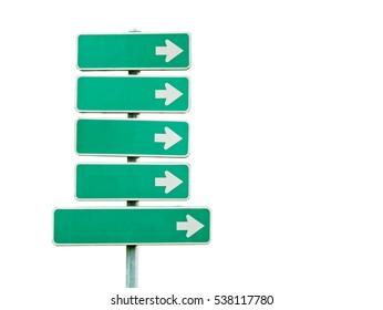 Blank directional signs isolated on white background (with clipping path)